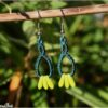 Boucles doreilles celtique macrame vert canard