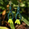 Boucles doreilles celtique macrame vert bleu