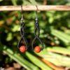 Boucles doreilles celtique macrame jaspe rouge noir
