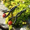 Boucles doreilles celtique macrame jaspe rouge