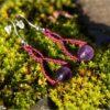 Boucles doreilles celtique macrame amethyste prune