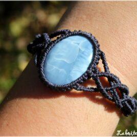 Bracelet macramé opale owyhee bleu