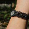 """Bracelet macramé """"etre soi"""" noir quartz rutile"""
