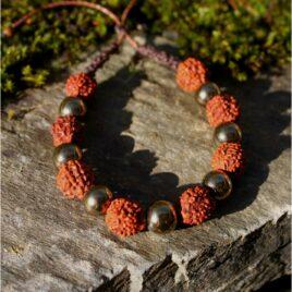 Bracelet mala pyrite graines