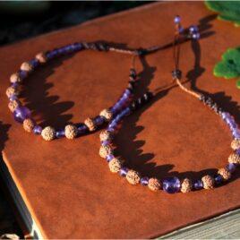 Bracelet pierres et graines améthyste