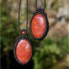 Collier duo macramé noir et jaspe rouge