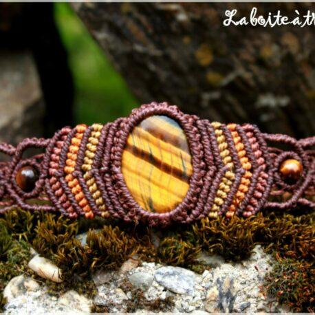 Bracelet macramé oeil de tigre