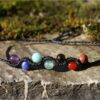 Bracelet macramé chakra pierre noir