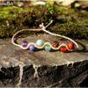 Bracelet 7 chakras pierre beige