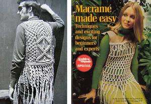 Vêtements en macramé des années 70