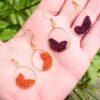 Boucles d'oreilles macramé feuilles